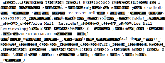 An ASN.1 source contains binary data that is not readable.