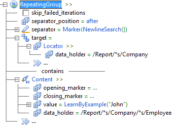"level 2 RepeatingGroup >> level 3 cleared checkbox skip_failed_iterations level 3 separator_position = after level 3 separator = Marker(NewlineSearch()) level 3 target = level 4 Locator >> level 5 data_holder = /Report/*s/Company level 4 ... level 3 contains line level 3 Content >> level 4 opening_marker = ... level 4 closing_marker = ... level 4 value = LearnByExample(""John"") level 4 data_holder = /Report/*s/Company/*s/Employee"