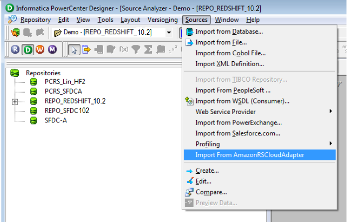Import Amazon Redshift Objects