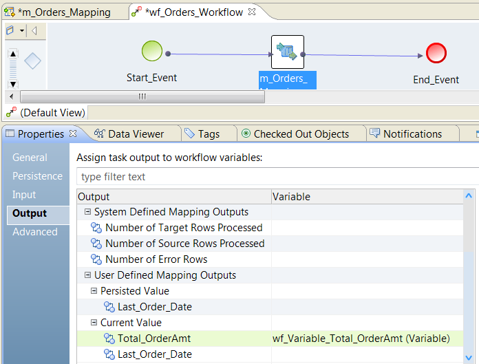 Bind Mapping Outputs to Workflow Variables