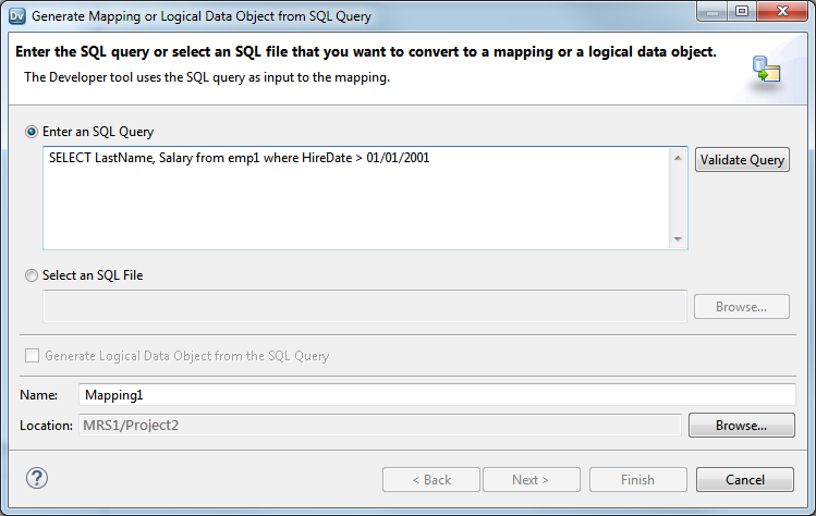 Paste or Import the SQL Statement to the Developer Tool on