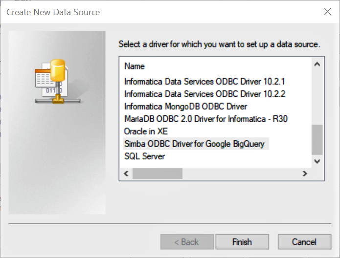 Configuring the Google BigQuery ODBC Driver on Windows