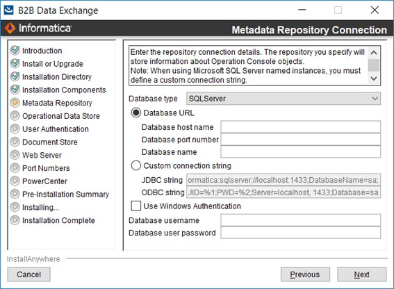 Step 3  Configure the B2B Data Exchange Repository